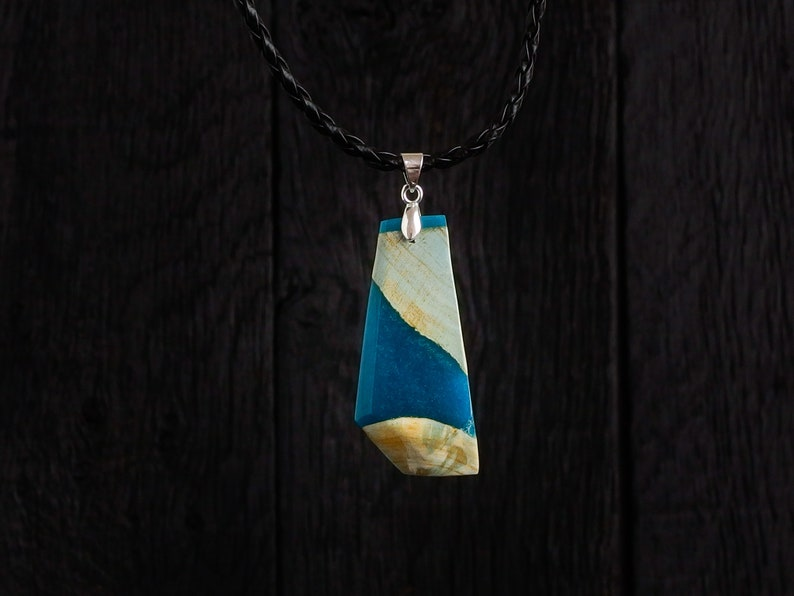Blue Ocean Resin and Wood Pendant on Faux Leather Necklace and image 0