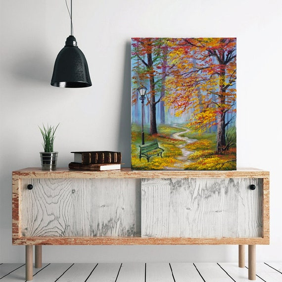 Lovely Park Handmade The best gift Craft In the beautiful Forest Oil Painting Forest Gift for mother Nature Original landscape