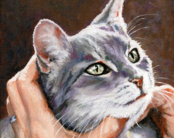 Cat Pet Portrait - Every cat has a story! Immortalize the one you love with a hand painted portrait in acrylic on gallery wrapped canvas.