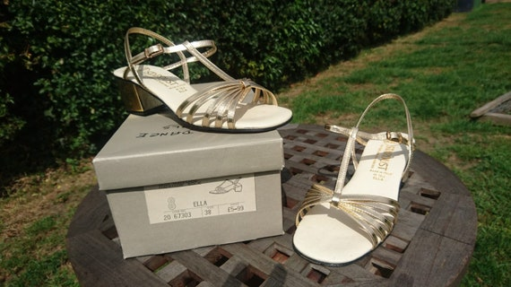 Vintage 1970s Dolcis sandals, 1970s gold sandals,
