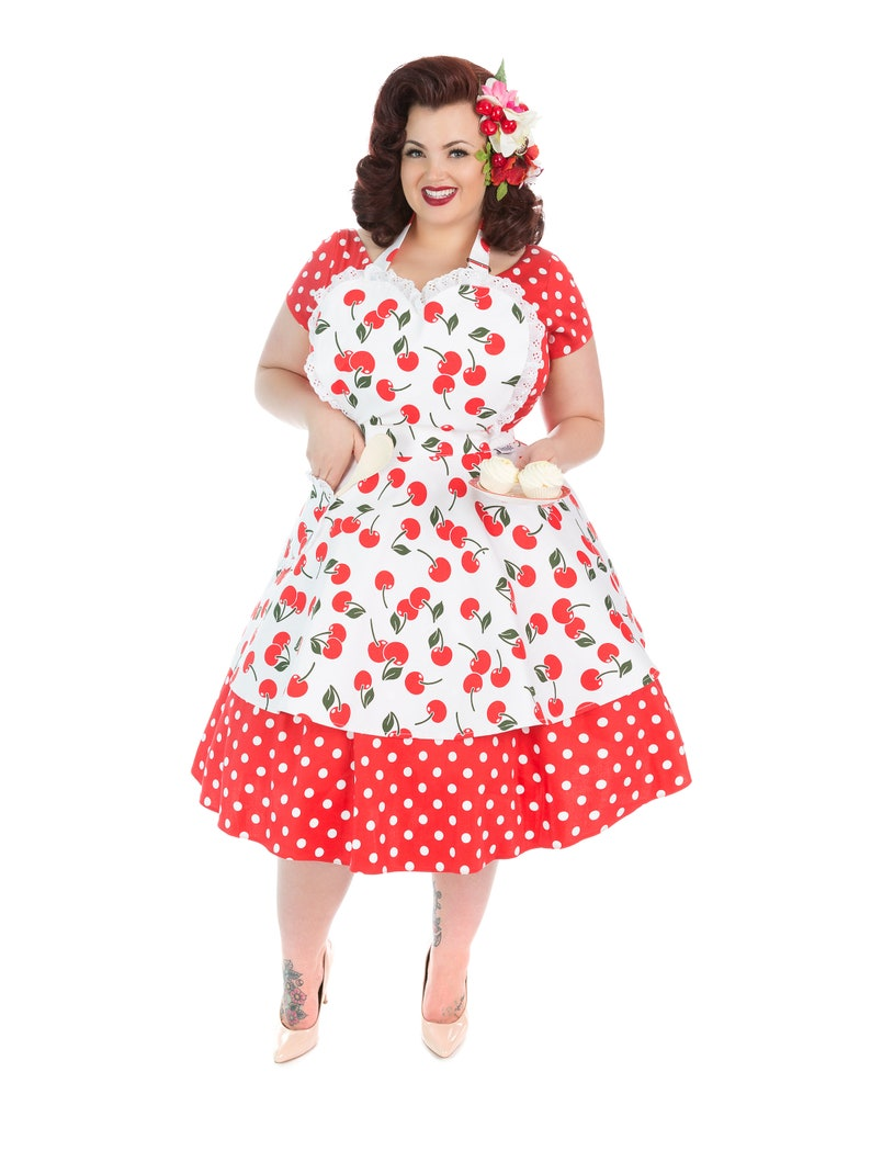 Vintage Aprons, Retro Aprons, Old Fashioned Aprons & Patterns Retro Cherry Womens Pin Up Apron - Cherry Bakes Well Sweetheart Apron For Women. Vintage Apron. $42.79 AT vintagedancer.com