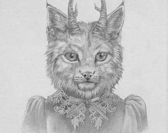 ORIGINAL Ozark Howler Portrait 8x10 Graphite Illustration