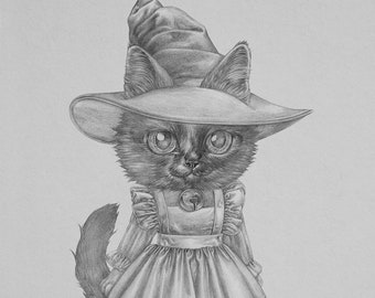 ORIGINAL Witch Cat 8.5x11 Graphite Illustration