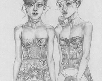 ORIGINAL Dior Dresses 9x12 Graphite Illustration