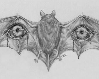 ORIGINAL Vampire Bat 9x12 Graphite Illustration