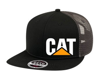 Orange Caterpillar CAT Equipment Trucker Twill Mesh Diesel Cap Hat Cap Baseball