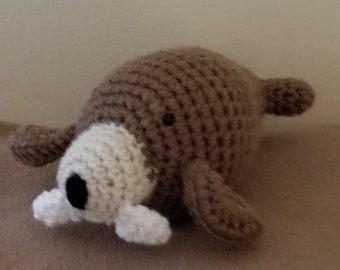 Crocheted stuffed walrus