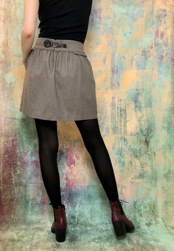 Vintage Brown Skirt, Vintage Pleated Skirt, Check… - image 3