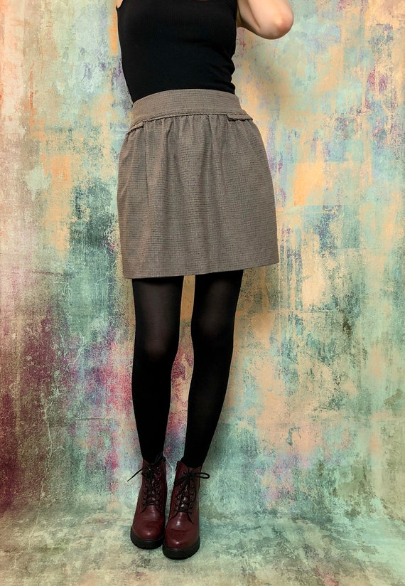 Vintage Brown Skirt, Vintage Pleated Skirt, Check… - image 7
