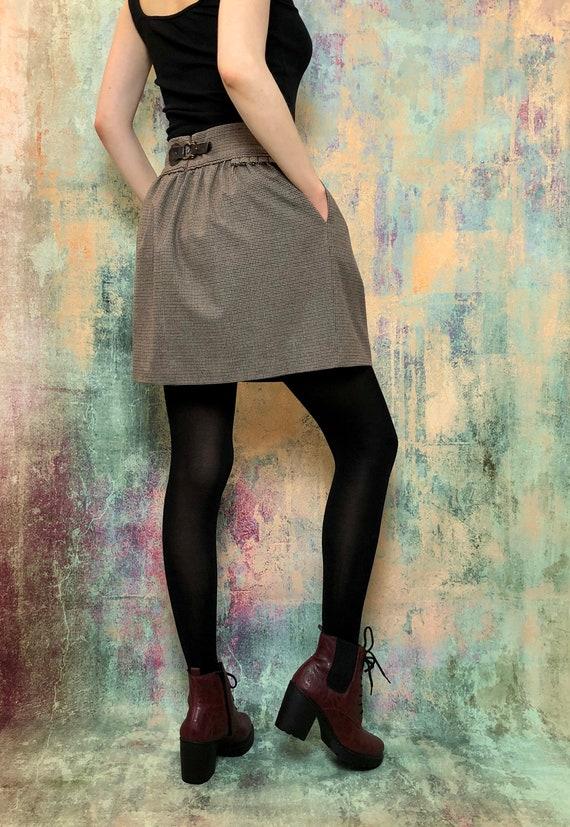 Vintage Brown Skirt, Vintage Pleated Skirt, Check… - image 4
