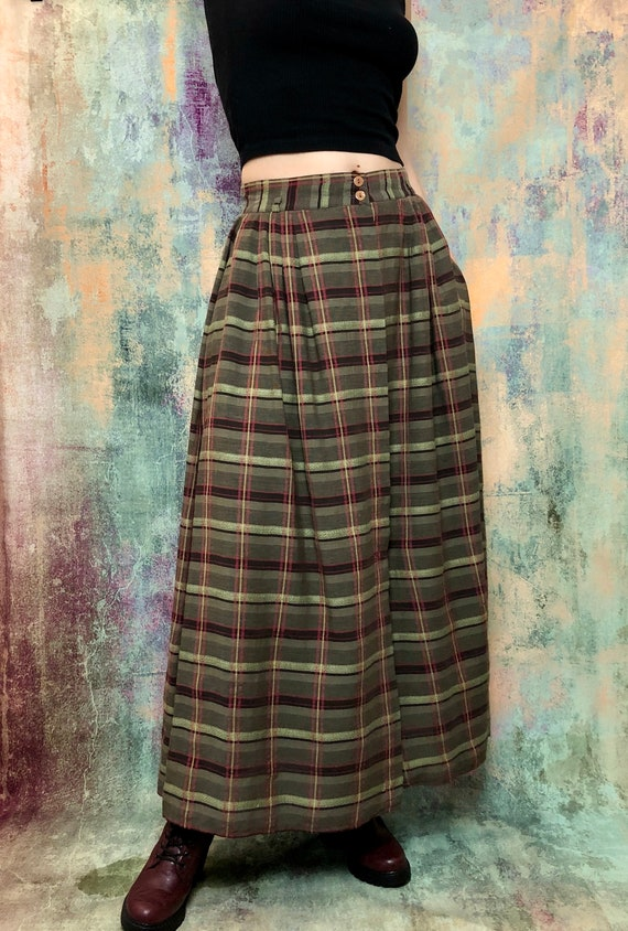 Vintage Green Skirt, Long Vintage Skirt, Checked P