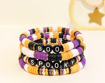 Heishi Halloween Bracelet | Polymer Clay Boo Disc Bracelet | Stack Bracelet | Custom Name Bracelet| Name Bracelet| Heishi Word Bracelet