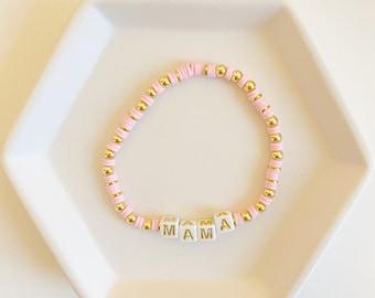 14k Gold Filled Bracelet | 4mm Gold Bracelet | Heishi Bracelet | Custom Name Bracelet | Name Bracelet | Polymer Clay Bracelet | Custom Name