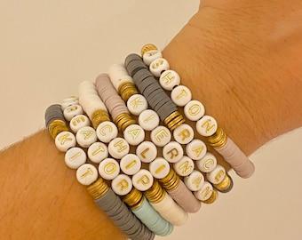 Heishi Bracelet | Polymer Clay Disc Bracelet | Stack Bracelet | Custom Name Bracelet| Name Bracelet| Heishi Word Bracelet | Initial Bracelet