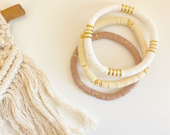 Fall Heishi Bracelet | Polymer Clay Disc Bracelet | Stack Bracelet | Custom Name Fall Bracelet| Name Bracelet| Heishi Word Bracelet |