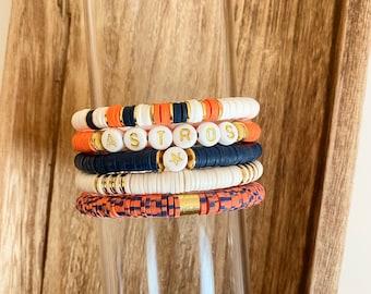 Astros Heishi Bracelet | Polymer Clay Disc Bracelet | Stack Bracelet | Custom Name Bracelet| Name Bracelet| Houston Astro's Bracelet |
