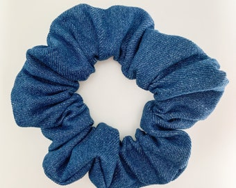 Handmade rainbows denim scrunchie gift set