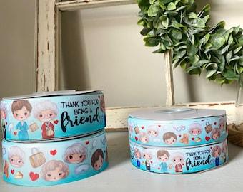 Golden friends,  USDR, ribbon for hairbows, US designer inspired printed ribbon, 2 sizes