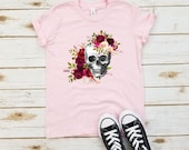 Floral Skull Youth Shirt - Cinco de Mayo, Day of the Dead, Sugar Skull, Mexican Halloween Costume, Rose Skull, Girly Skull Youth Shirt.
