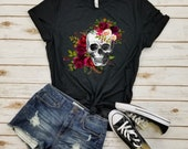 Floral Skull Shirt - Cinco de Mayo, Day of the Dead, Sugar Skull, Mexican Halloween Costume, Skull Shirt, Rose Skull, Girly Skull Shirt.