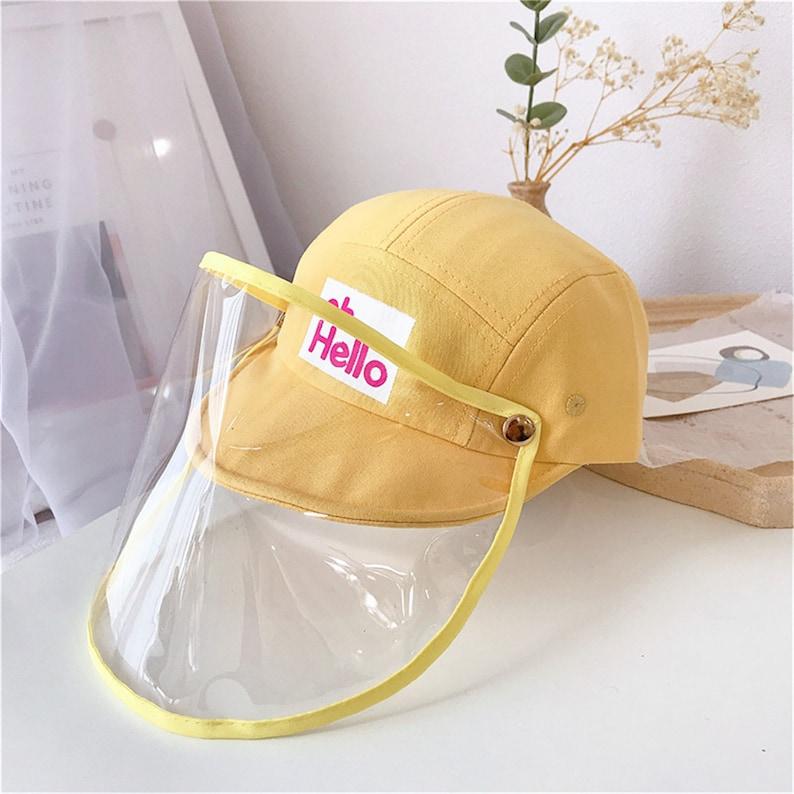 Children Hap With Shield,Cartoon Removable Face Shield Hat,HatCaps For Children. Hello Kids Cap Face Shield Casquette Anti-Dust Baby Cap