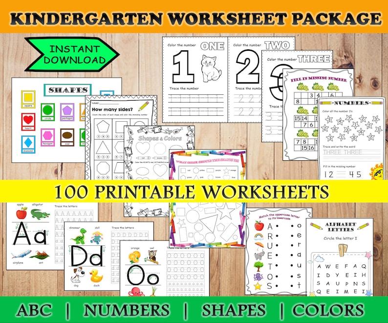 PRINTABLE Kindergarten Worksheets Alphabet Tracing Preschool Etsy