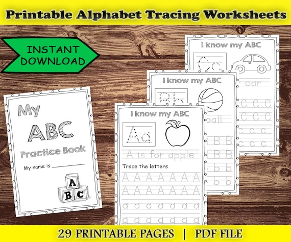 PRINTABLE Alphabet Letters Tracing Worksheets ABC Tracing Etsy