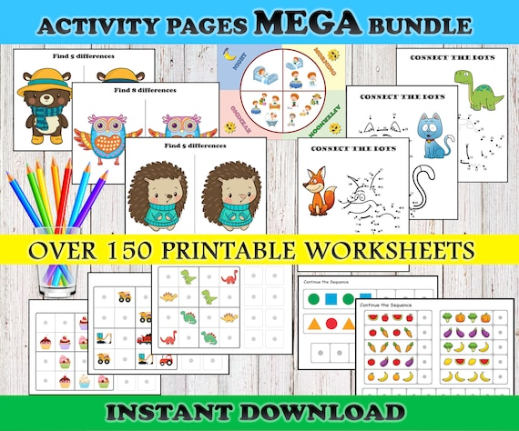 Toddler Busy Book PRINTABLE Activity Sheets Preschool Workbook Etsy