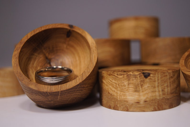 Oak Wood Ring Dish Engraved Wooden Ring Holder Jewelry Tray image 1