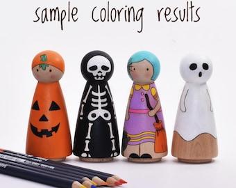 Halloween peg doll set , DIY kit, Halloween crafts kit, Halloween gifts for kids, Halloween DIY,  laser-engraved peg dolls