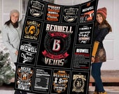 Personalized Blanket, First Nam Or Last Name Blood Runs Through My Veins, Your Name Blanket, Personalized Gift, Personalized Warmer Gift