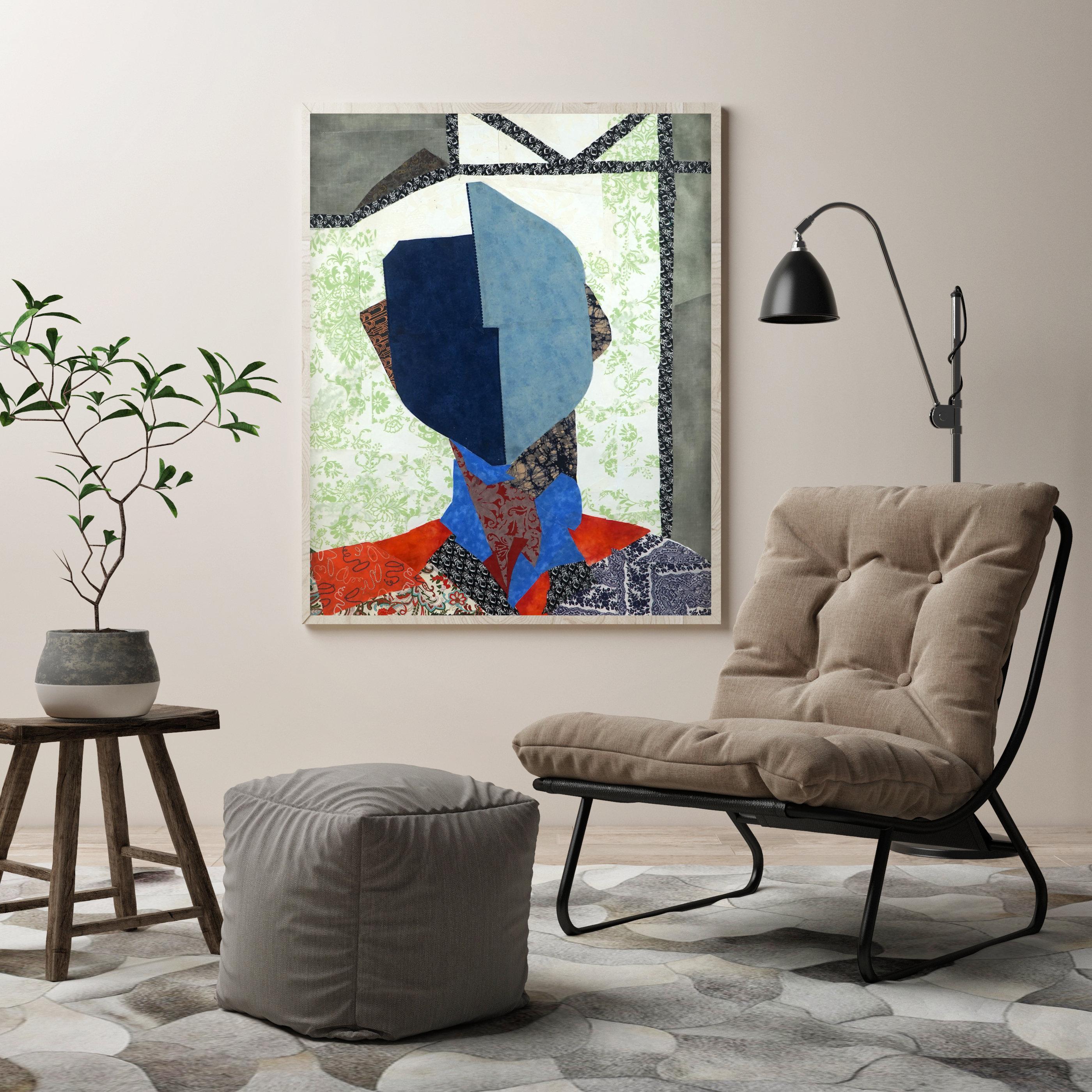 mode portrait mit stoff kunstdruck blumen frau gesicht