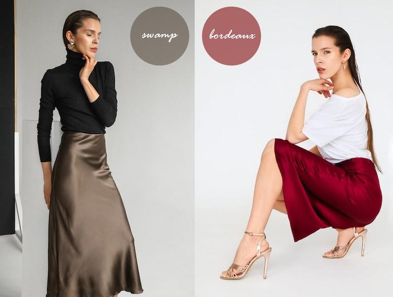 Many colors silk satin skirt bias cut Stretch silk slip skirt midi Silk clothing Silk basics silk skirt trends style silk outfit beige skirt
