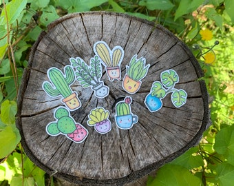 Potted Plant Stickers / Succulent Stickers / Cactus Stickers / Garden Stickers / Kawaii goodnotes Stickers / Handmade Stickers / Plant Lover