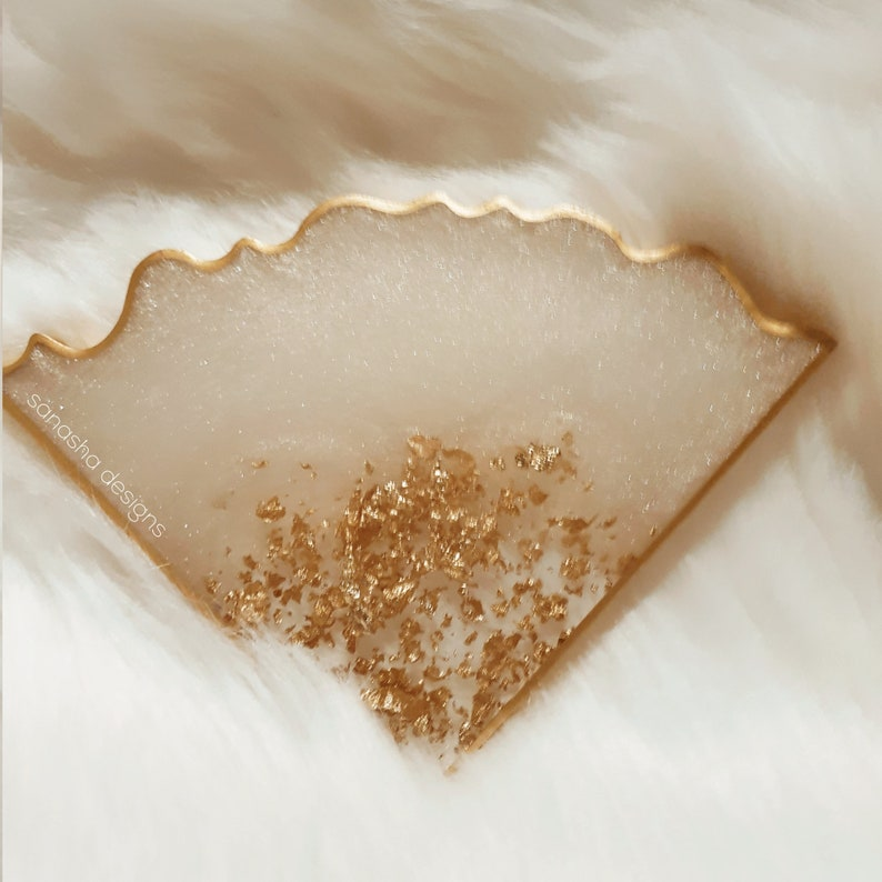 Moonlit Gold Reversible Geode Agate Style Resin Coaster Set of 4