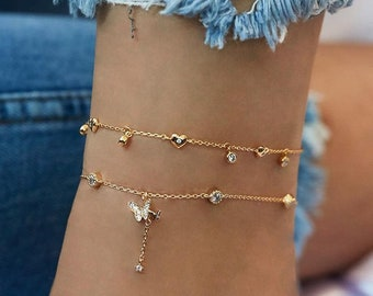 Leaf Pendants Anklet Summer Jewelry Gold And Silver Jewelry Bondi Anklet