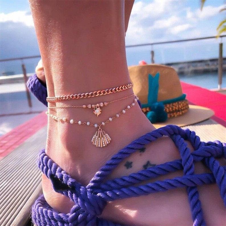 Multi Layer Anklet Set Bohemian Anklet Set Girlfriend Gift Shell Dangle Boho Anklet Set Lucky 4 Leaf Clover Cuban Chain Anklet