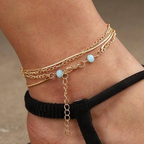 Blue Faceted Beads Friend Gift Snake Chain Anklet Girlfriend Gift Bohemian Anklet Set Double Layer Anklet Set Boho Anklet Set