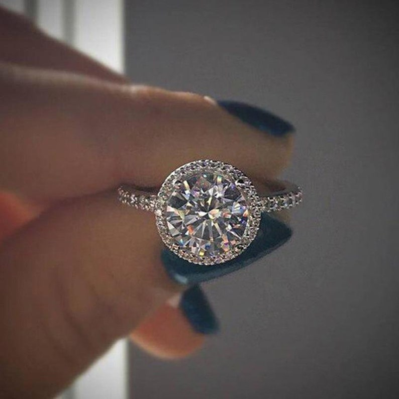 Anniversary Gift Engagement Ring Friend Gift Classic Round CZ Silver Solitaire Ring Friend Gift Bohemian Ring Wife Gift Boho Ring