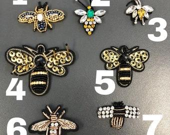 Large Gold Bee Crown Gold Sequin Patch paillettes appliqué brodé Free P /& p
