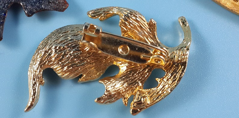 Vintage Jewelry Lot Brooches French Leafs signed Enamel Gold tone Metal 1970-1980-s