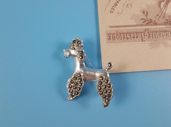 Vintage Silver Tone Marcasite Dog Poodle Brooch