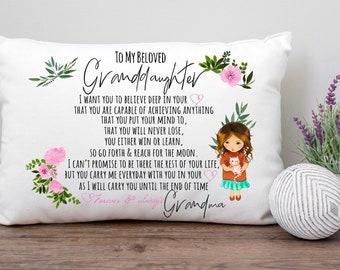To Granddaughter From Grandma Pillowcase, Inspirational Birthday Gift For Granddaughter From Grandma, Pillow For Granddaughter From Nana