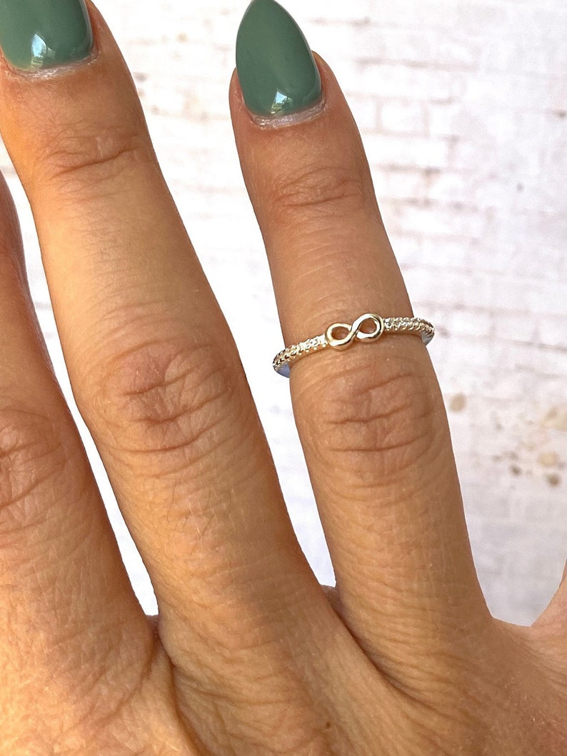 Minimalist Stacking Ring Gemstone sterling Ring Sterling 925 Silver CZ Infinity Ring Dainty Stack Ring| Love Silver Ring