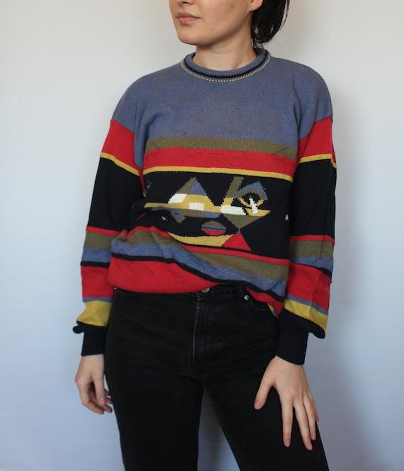 90/'s retro abstract print minimalist Paris chic shirt top