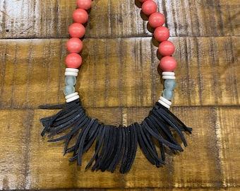 beaded necklace spike jewelry statement necklace natural jewelry wood bead necklace green wood spike necklace vegan jewelry
