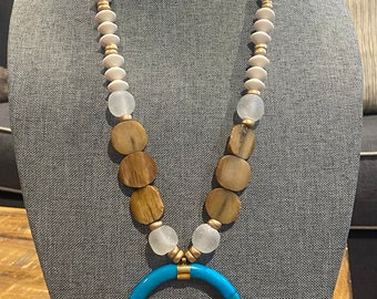 Chunky Wood Bead / Long Statement Necklace / Turquoise Bone Crescent Tusk Pendant / Recycled Glass Bead / African Bone Bead / Lilly Pulitzer