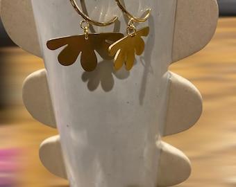 Raw Brass Hoop Dangle Statement Earring / Boho Dangle / Chandelier Earring / Flower Cut-Out / 14k Gold Plated