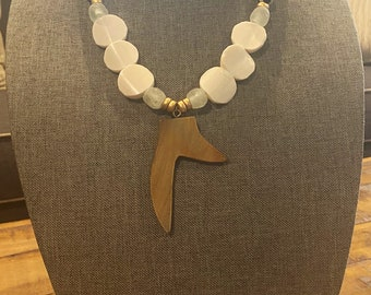 Giraffe Glass Bead Jewelry / Statement Necklace / Antler Tusk Pendant / Flat Disk African Bone Beads / Brass Bead / Gold Bead Jewelry