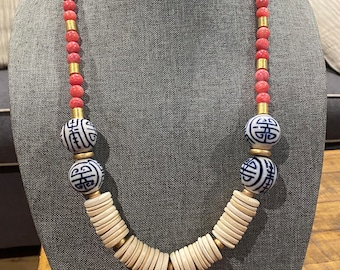 Blue Chinoiserie Ceramic Glass Bead / Pink Glass Stone Bead / White Coconut Wood Disk / Boho Festival / Long Statement Necklace / Gold Bead